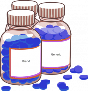 An illustration of brand and generic medication